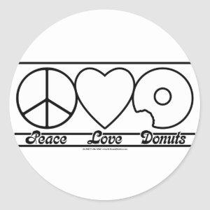 Peace Love and Donuts Classic Round Sticker