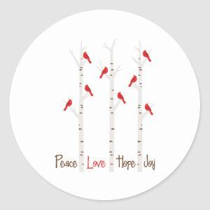 Peace Love Hope Joy Classic Round Sticker