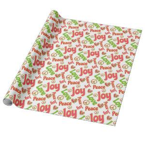 Peace Love Joy Fun Retro Tie Dye Christmas Holiday Wrapping Paper