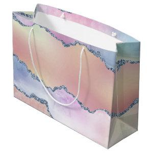 Peach Agate | Pretty Holographic Watercolor Ombre Large Gift Bag