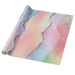 Peach Agate | Pretty Holographic Watercolor Ombre Wrapping Paper