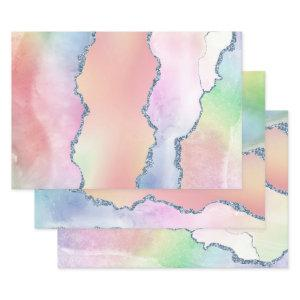 Peach Agate | Pretty Holographic Watercolor Ombre Wrapping Paper Sheets
