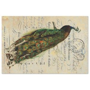 Peacock 18lb Decoupage Sheet Left