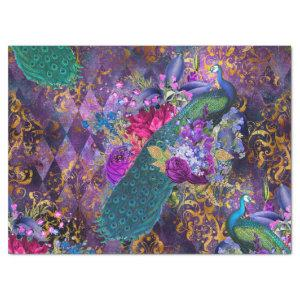 Peacock and Flowers on Purple Decoupage Tissue Paper