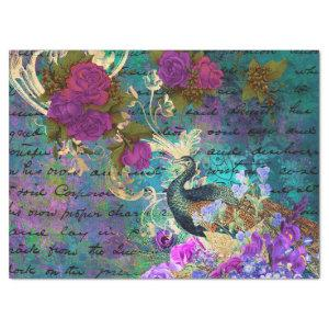 Peacock and Purple Flowers Decoupage Tissue Paper