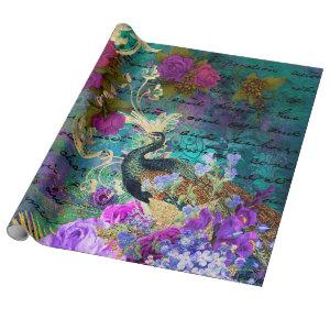Peacock and Purple Flowers Wrapping Paper