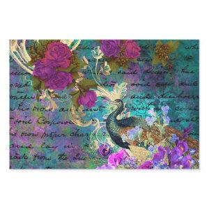 Peacock and Purple Flowers Wrapping Paper Sheets