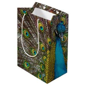 Peacock Bird on Display Medium Gift Bag
