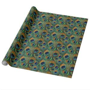 Peacock Feather Gift Wrap - Present Wrapping Paper