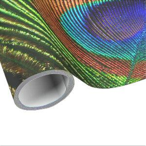 Peacock Feathers 6A-6B Options Wrapping Paper