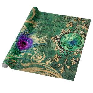 Peacock Feathers and Butterfly Wrapping Paper