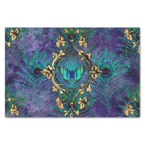 Peacock Feathers Butterfly Purple Decoupage Tissue Paper