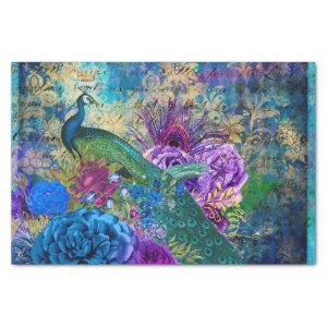 Peacock Floral Collage Decoupage Tissue Paper