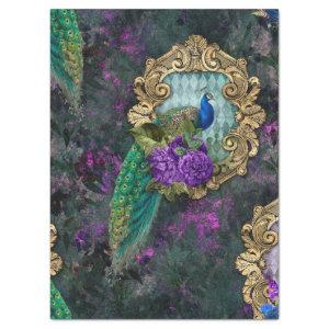Peacock, Flowers, and Gold Frame Decoupage Tissue Paper