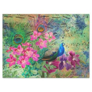 Peacock Flowers and Music Decoupage Tissue Paper