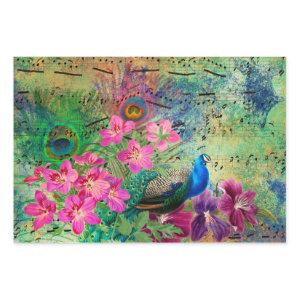 Peacock Flowers and Music Wrapping Paper Sheets