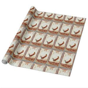 Peacock on Fresco Ancient Roman Antique Painting Wrapping Paper