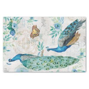 Peacock Peafowl Teal Turquoise Floral Decoupage / Tissue Paper
