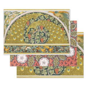 Peacock Round Art Nouveau Style Wrapping Paper Sheets