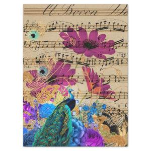 Peacock, Sheet Music, and Flowers Decoupage Paper