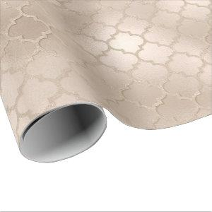 Pearly Titanium Ivory Quatrefoil Glass Shiny Glam Wrapping Paper