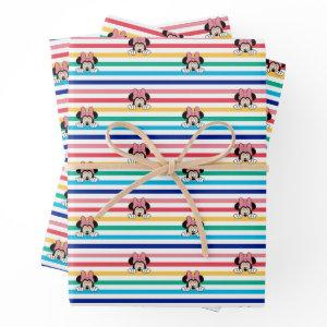 Peekaboo Rainbow Minnie Mouse Pattern Wrapping Paper Sheets