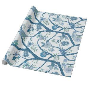 Peony Branch in Blue Greens Wrapping Paper