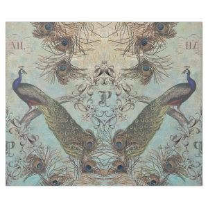 PERCHED PEACOCK WITH FEATHERS VINTAGE DECOUPAGE WRAPPING PAPER