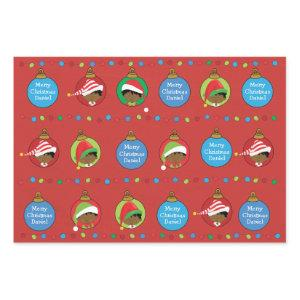 Personalize African American Boy Elf Wrapping Paper Sheets
