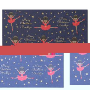 Personalize African American Christmas Ballerina Wrapping Paper