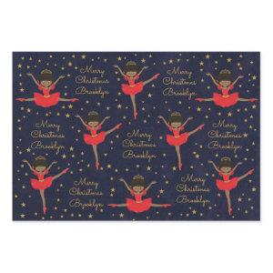 Personalize African American Christmas Ballerina Wrapping Paper Sheets