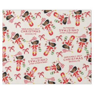 Personalize African American Christmas Girl Elf Wrapping Paper