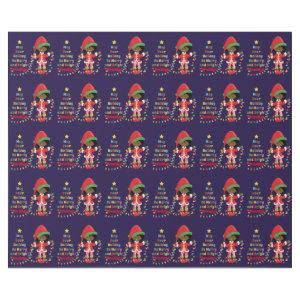 Personalize African American Girl Elf Wrapping Paper
