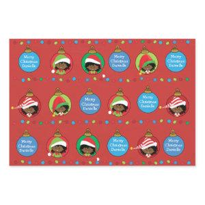 Personalize African American Girl Elf Wrapping Paper Sheets