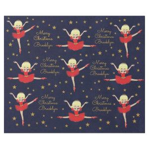 Personalize Blonde Christmas Ballerina Wrapping Paper