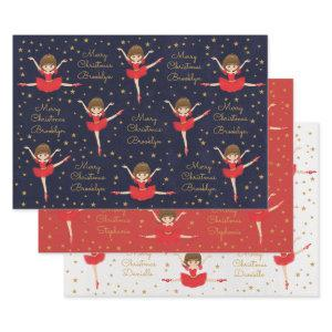 Personalize Brunette Christmas Ballerina Wrapping Paper Sheets