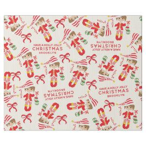 Personalize Brunette Girl Elf Wrapping Paper