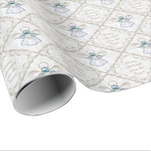 Personalize - Christmas Filigree Angel of Faith Wrapping Paper