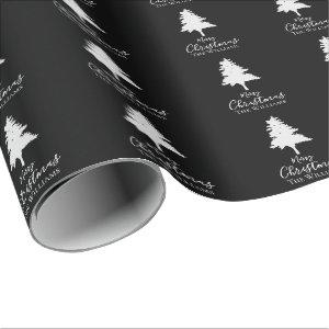 Personalize Family Name | Black White Christmas Wrapping Paper
