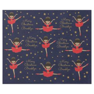 Personalize Multicultural Christmas Ballerina Wrapping Paper