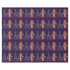 Personalize Multicultural Girl Elf Wrapping Paper