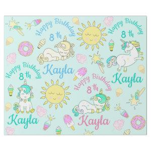 Personalize Name & Age Unicorn Birthday Party Wrapping Paper