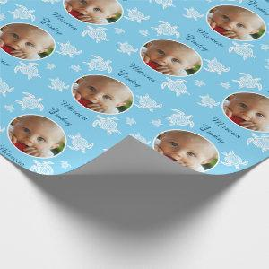 Personalized 1st Birthday sea turtle blue baby Wrapping Paper