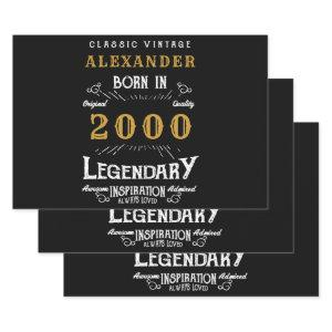 Personalized 21st Birthday Born 2000 Vintage Black Wrapping Paper Sheets