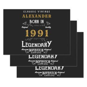 Personalized 30th Birthday Born 1991 Vintage Black Wrapping Paper Sheets