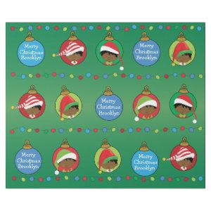 Personalized African American Boy Elf Wrapping Paper
