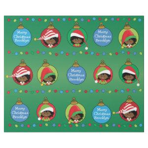 Personalized African American Girl Elf Wrapping Paper