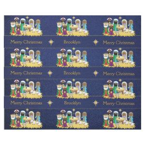Personalized African American Nativity Scene Wrapping Paper