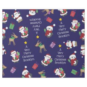 Personalized African American Santa and Penguin Wrapping Paper