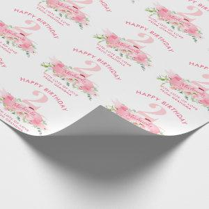 Personalized ANY AGE Pink Floral Girl's Birthday Wrapping Paper